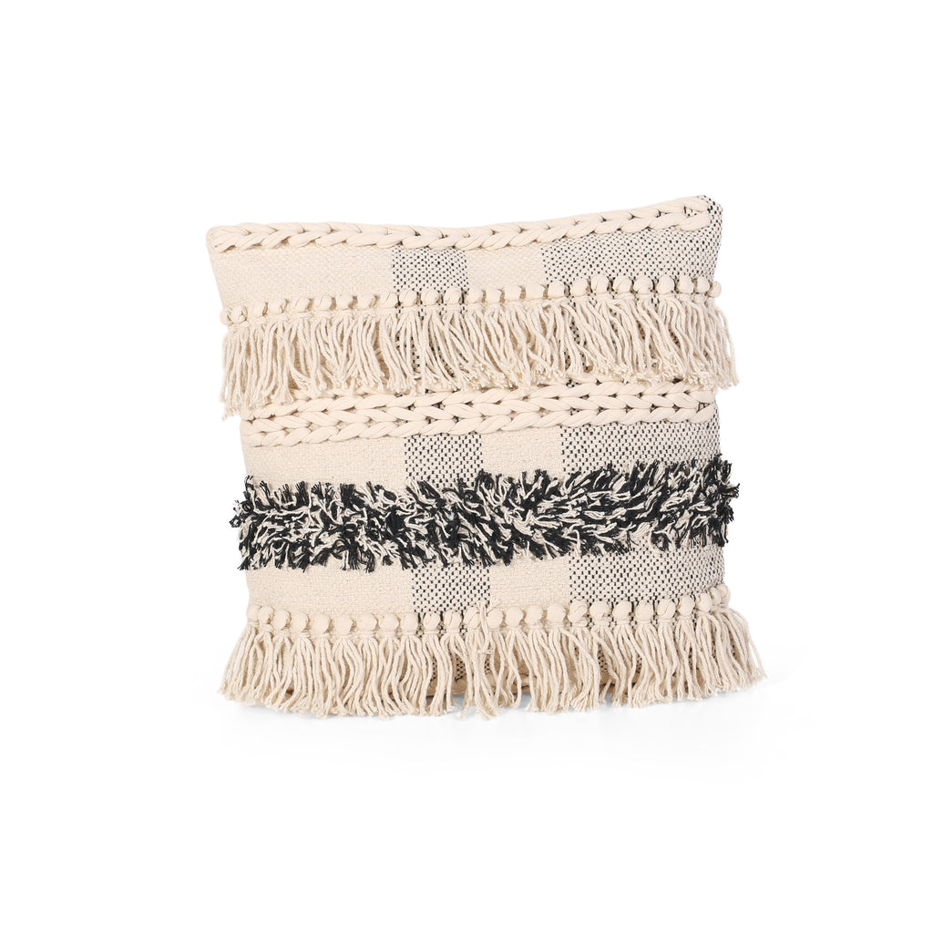 Stella Boho Cotton Pillow Cover, Natural and Gray