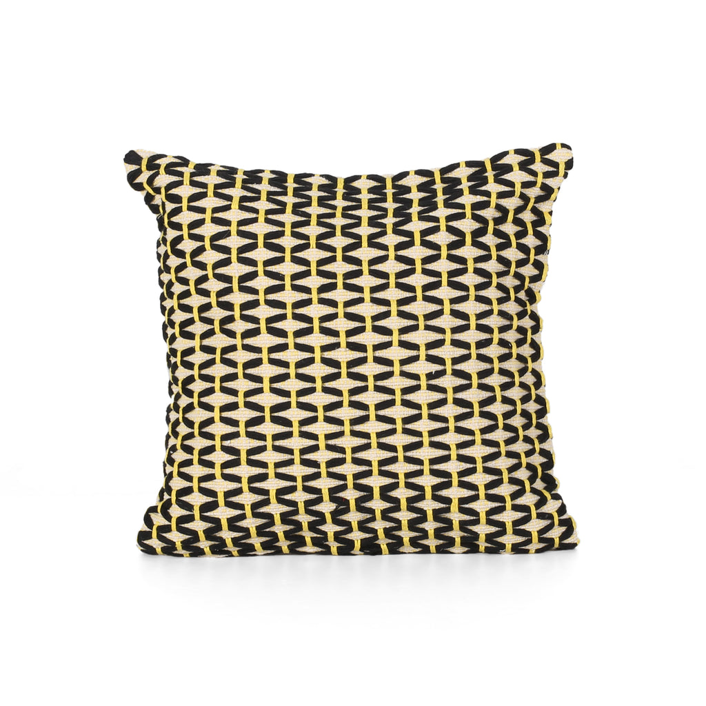 Claudia Boho Cotton Throw Pillow, Black and White