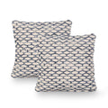 Clement Boho Cotton Pillow Cover (Set of 2), Blue and White