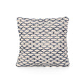 Cloris Boho Cotton Throw Pillow, Blue and White