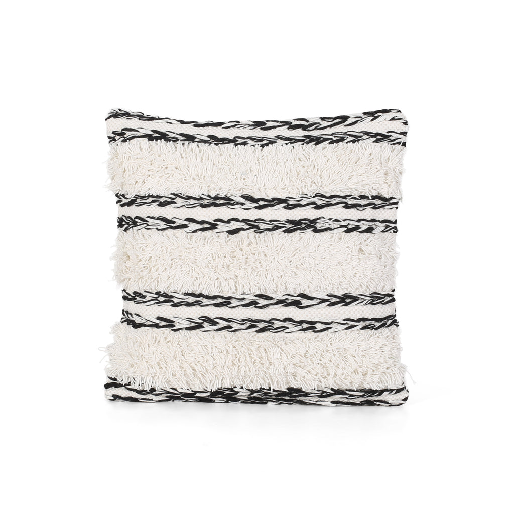 Connie Boho Cotton Pillow Cover, Black and White