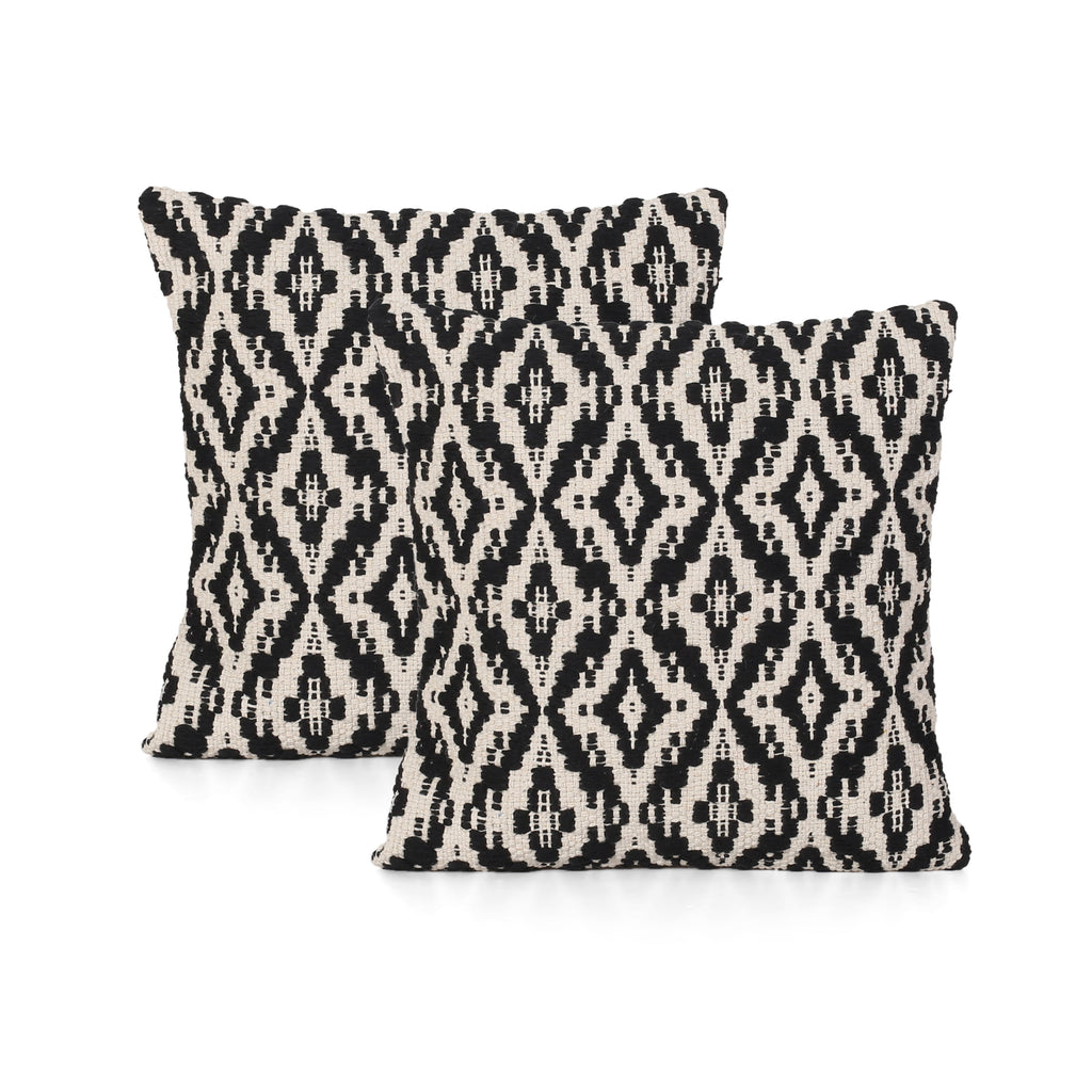 Daisy Boho Cotton Throw Pillow (Set of 2), Black and White