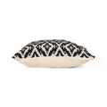 Daisy Boho Cotton Throw Pillow, Black and White