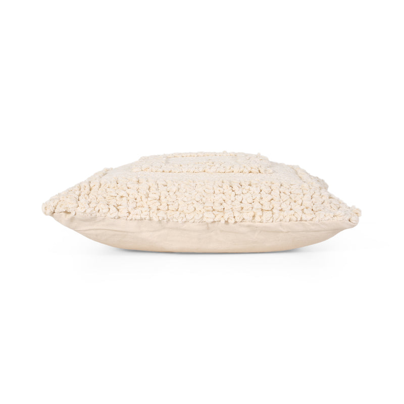 Darcy Boho Cotton Pillow Cover, White