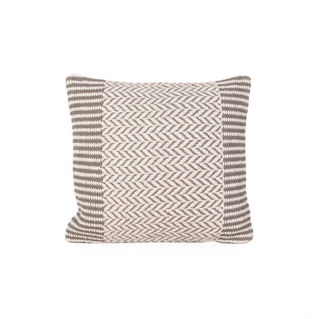 Demi Boho Cotton Pillow Cover, Taupe and White