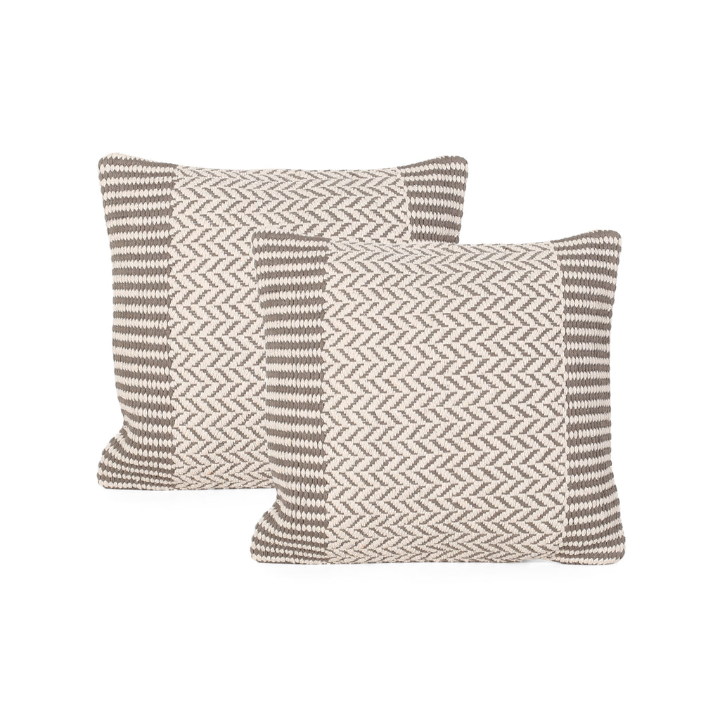 Demi Boho Cotton Pillow Cover (Set of 2), Taupe and White