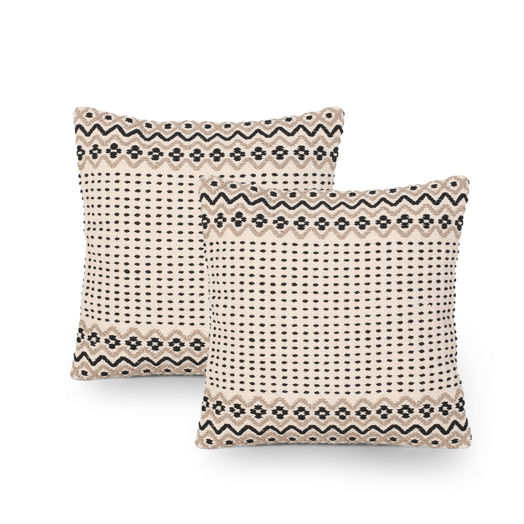 Dolores Boho Cotton Pillow Cover (Set of 2), Taupe and White