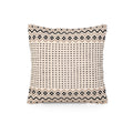 Donna Boho Cotton Throw Pillow, Taupe and White