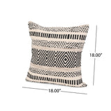 Doris Boho Cotton Pillow Cover (Set of 2), Black and White