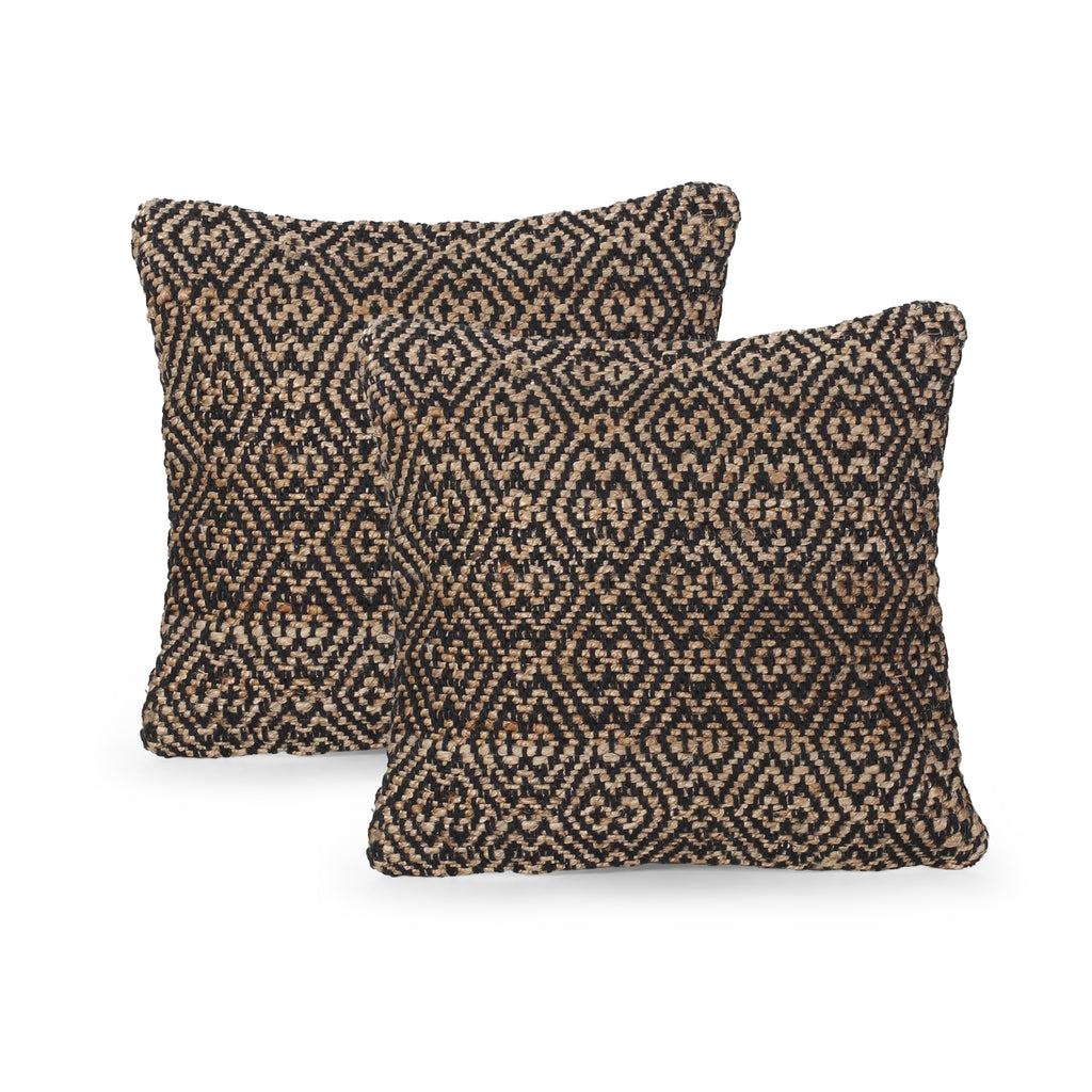 Elaine Boho Jute and Cotton Throw Pillow (Set of 2), Black