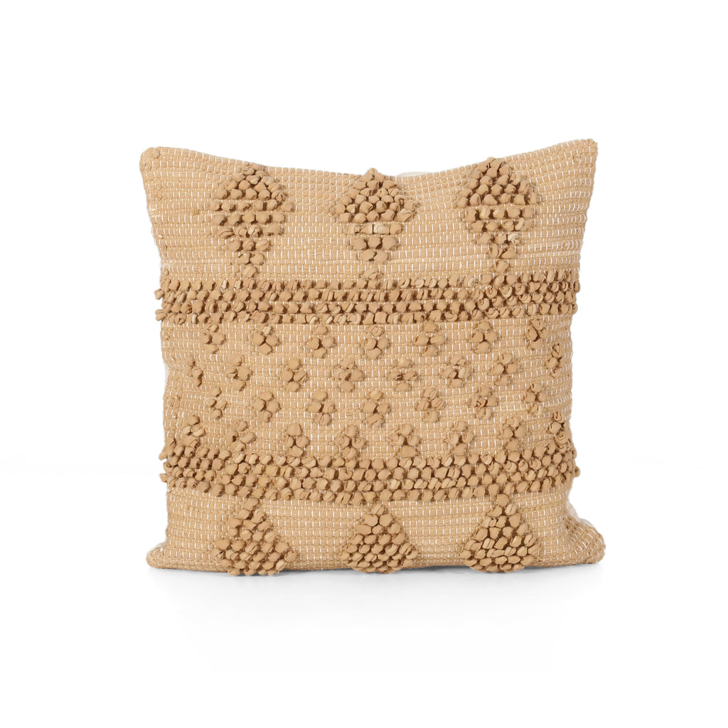 Ella Boho Cotton Chindi Throw Pillow, Beige