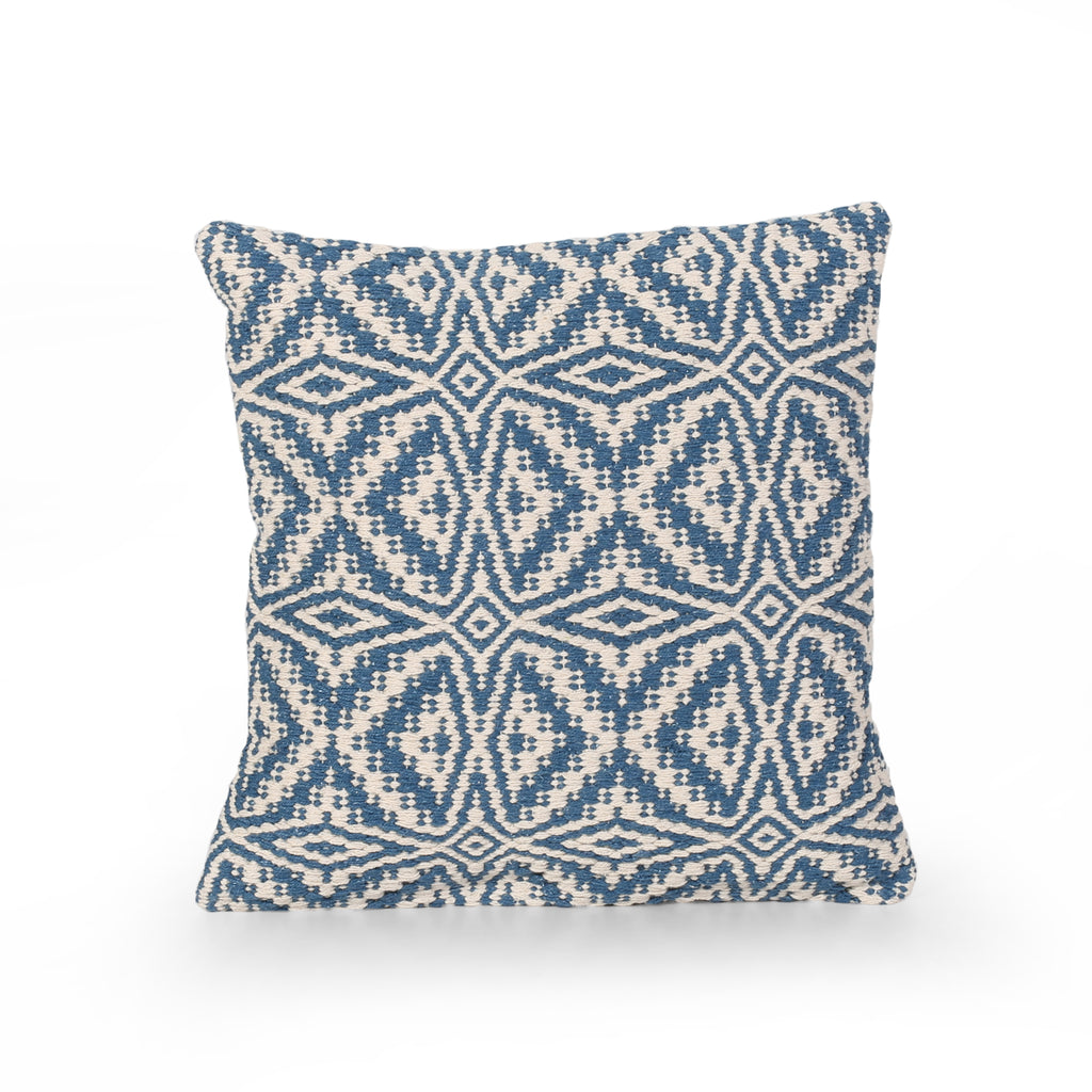Ellen Boho Cotton Pillow Cover, Blue and White