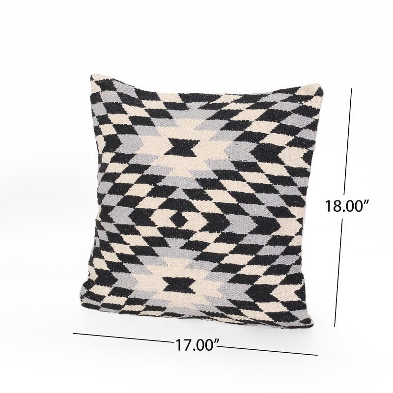 Estelle Boho Cotton Pillow Cover, Black and White