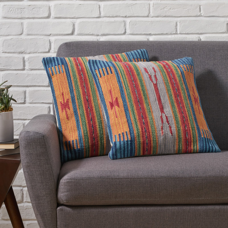 Eudora Boho Cotton Pillow Cover (Set of 2), Multicolor