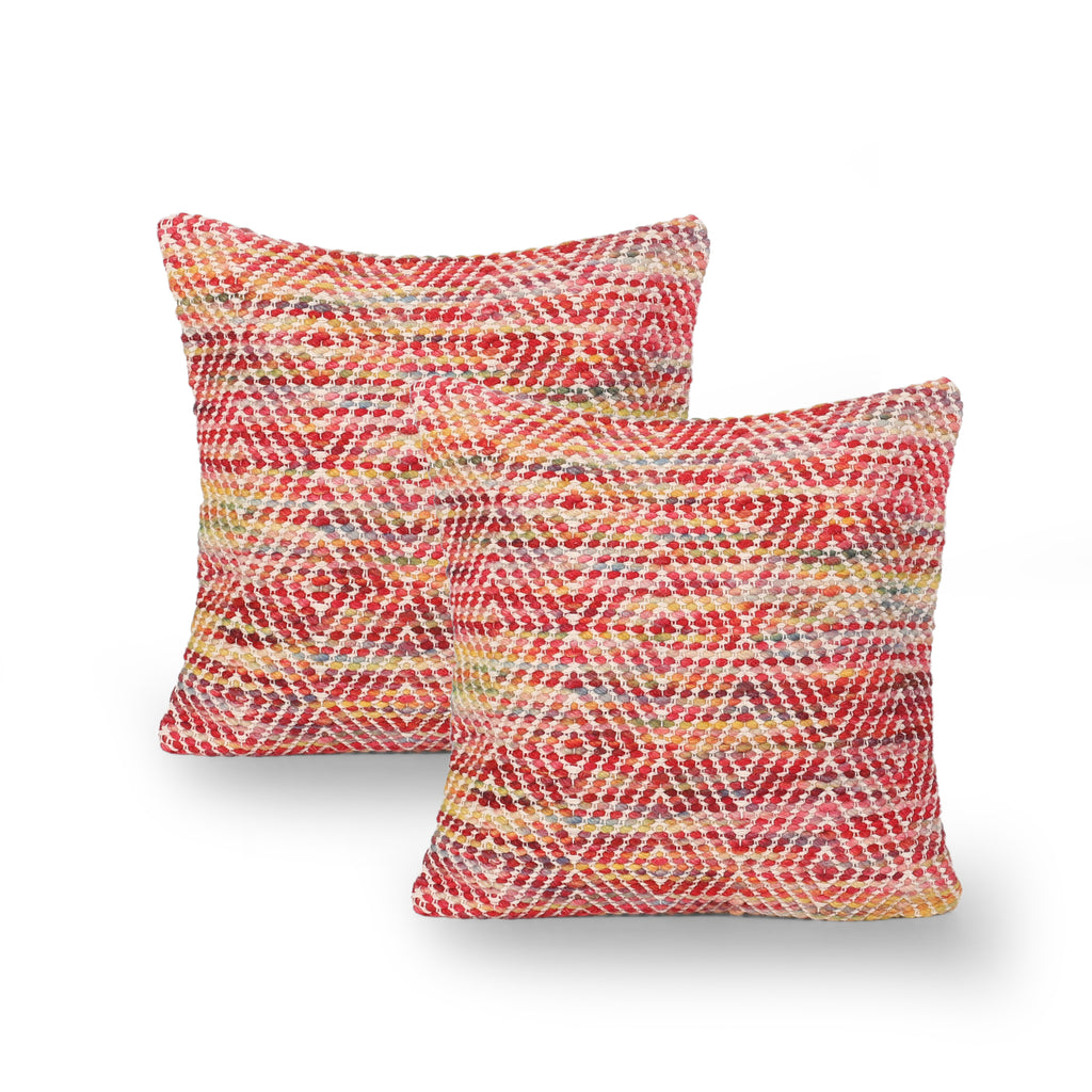 Frederica Boho Cotton and Wool Throw Pillow (Set of 2), Multicolor