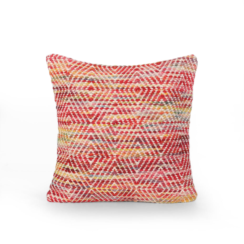 Frederica Boho Cotton and Wool Throw Pillow, Multicolor