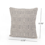 Frieda Boho Cotton Pillow Cover, Gray and White