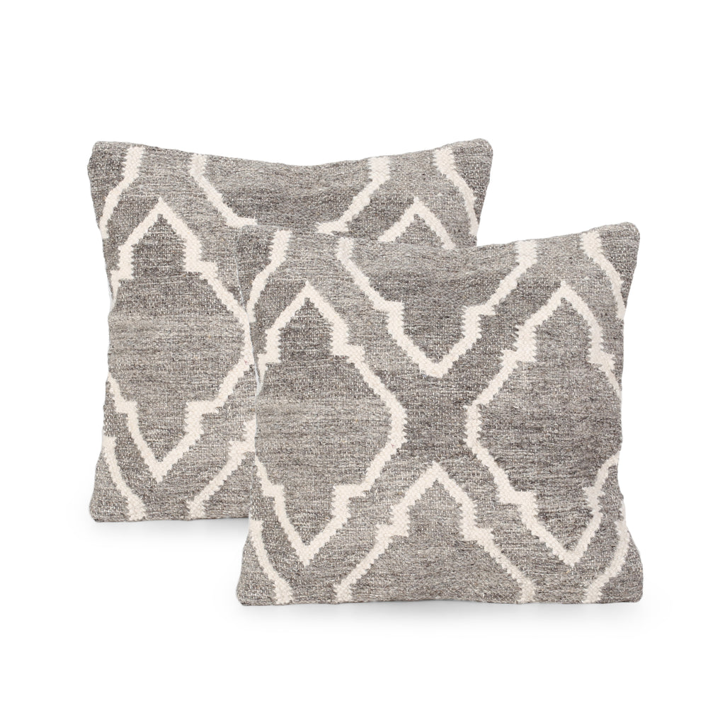 Gillian Boho Wool Pillow Cover (Set of 2), Natural Brown and White