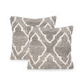 Gladys Boho Wool Throw Pillow (Set of 2), Natural Brown and White