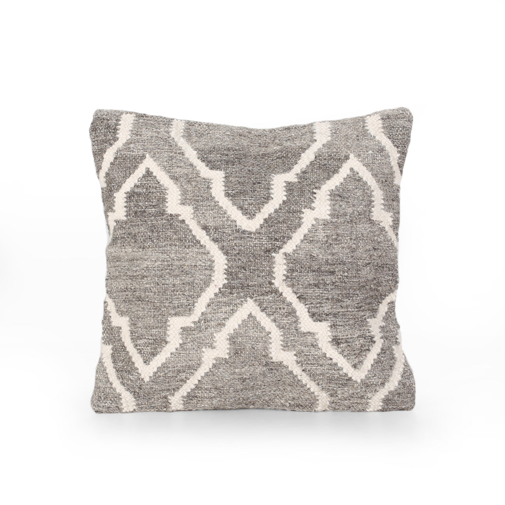 Gladys Boho Wool Throw Pillow, Natural Brown and White
