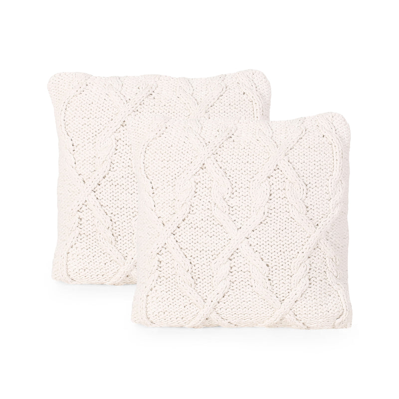 Gloria Boho Cotton Pillow Cover (Set of 2), Beige