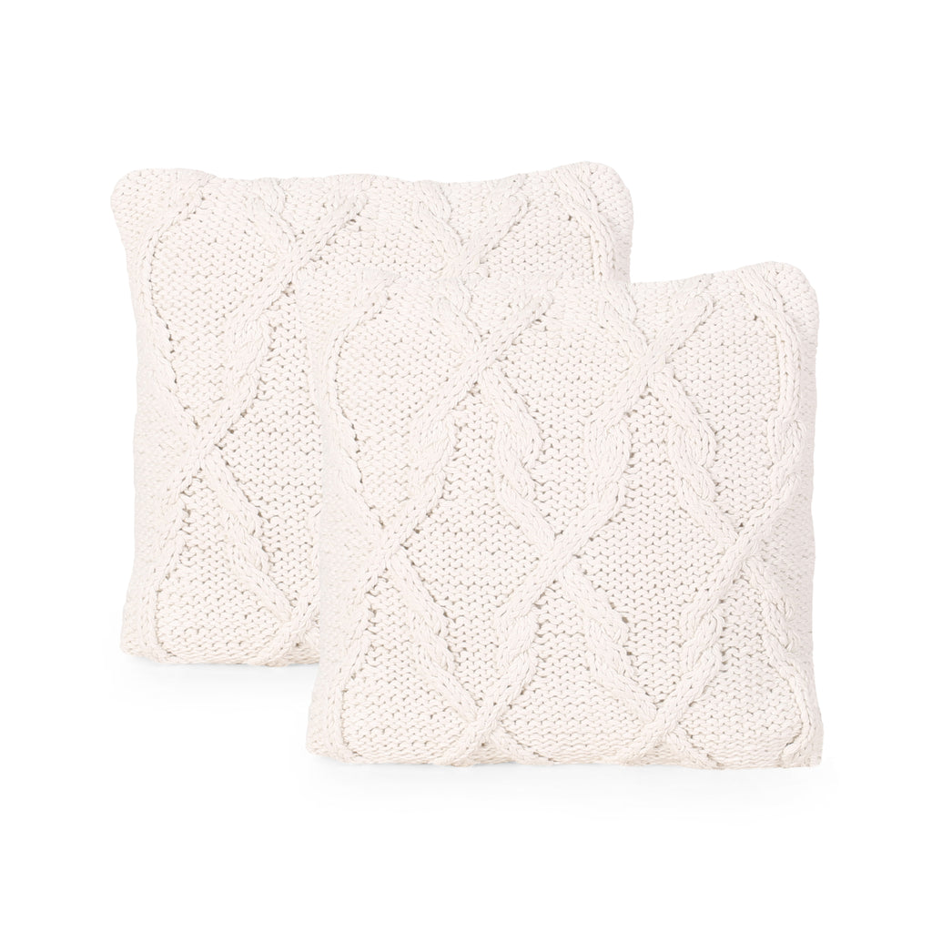 Grace Boho Cotton Throw Pillow (Set of 2), Beige