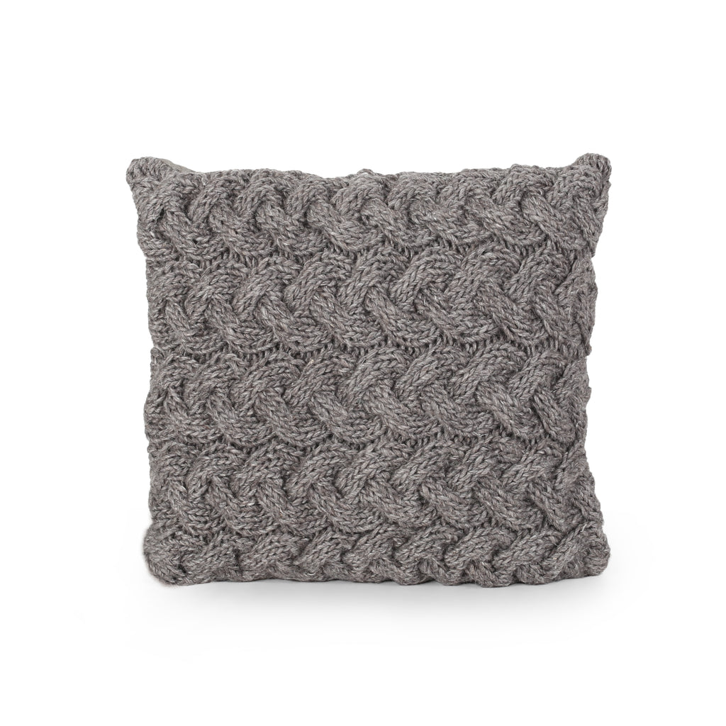 Colorfully Boho Wool Pillow Cover, Gray