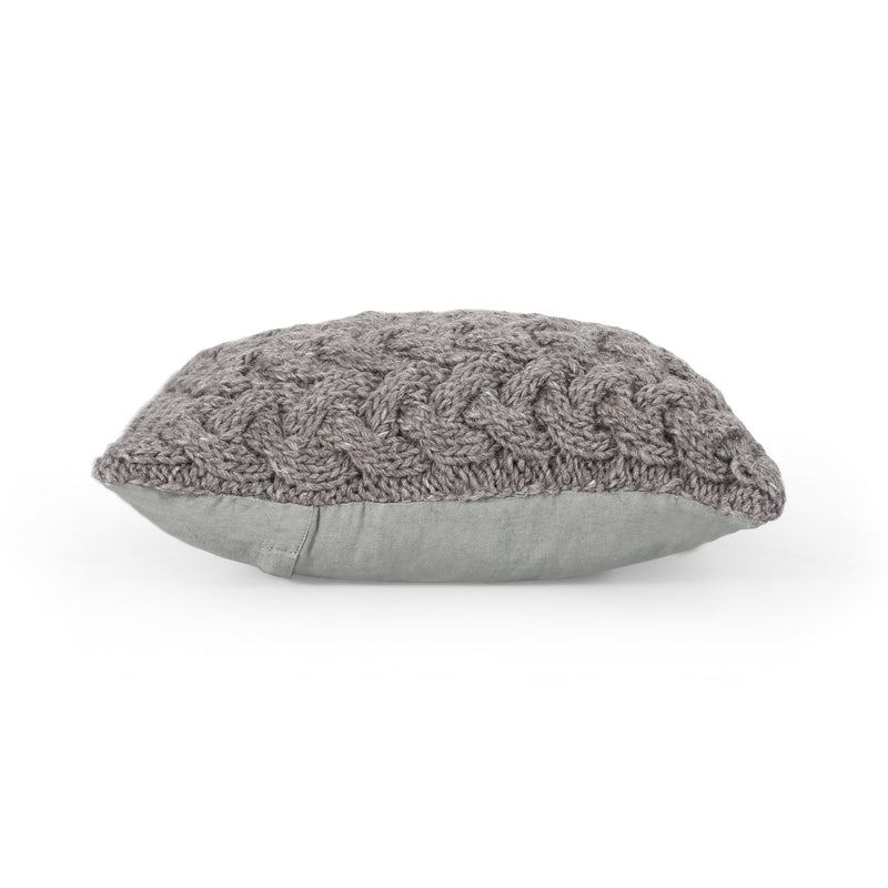 Purplegrape Boho Wool Throw Pillow (Set of 2), Gray