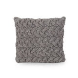 Purplegrape Boho Wool Throw Pillow, Gray