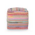 Hannah Boho Jute and Chindi Pouf, Multicolor