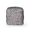 Helena Boho Wool and Cotton Pouf, Blue
