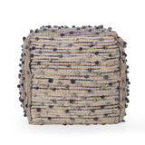 Hellen Boho Jute and Cotton Pouf