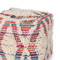 Hebe Boho Wool and Chindi Pouf, Multicolor