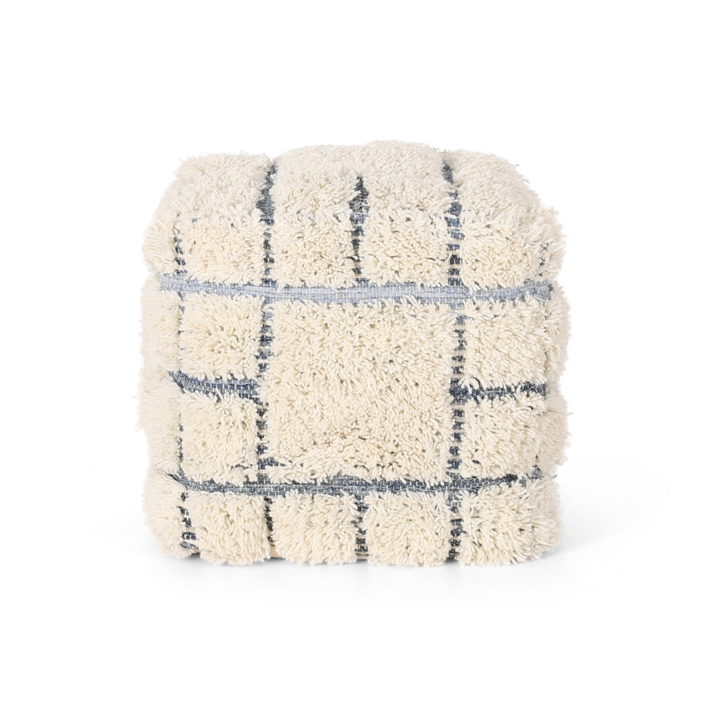 Heidi Boho Wool and Denim Pouf, Blue and White