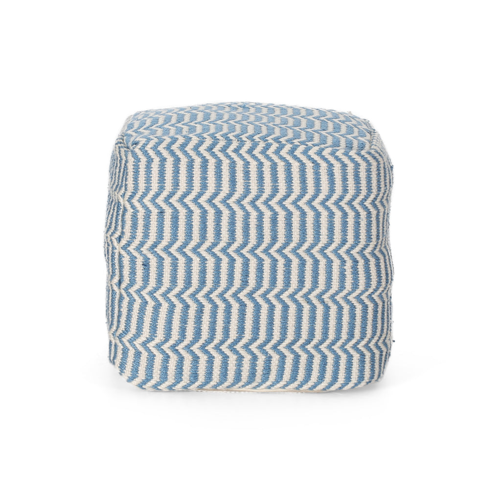 Iris Boho Yarn Pouf, Blue and White