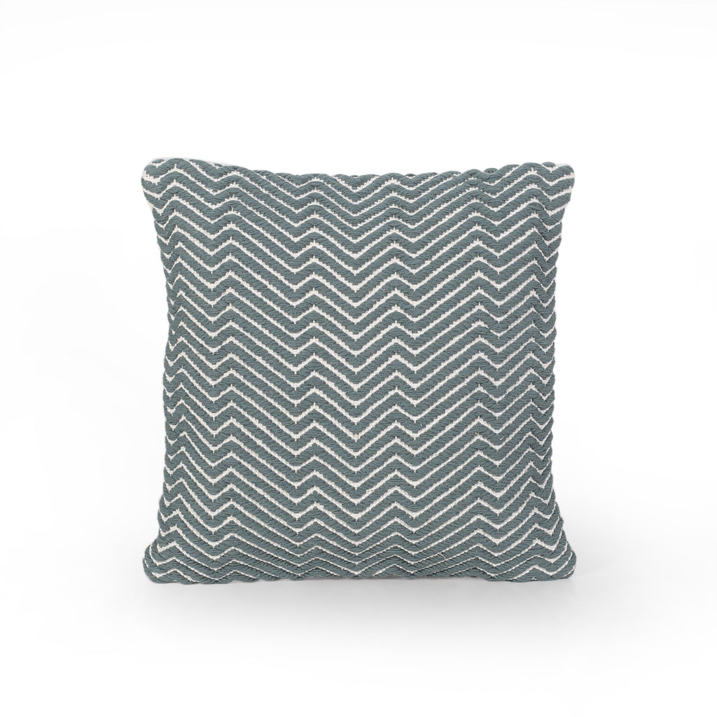 Sandy Boho Cotton Pillow Cover, Blue and Natural