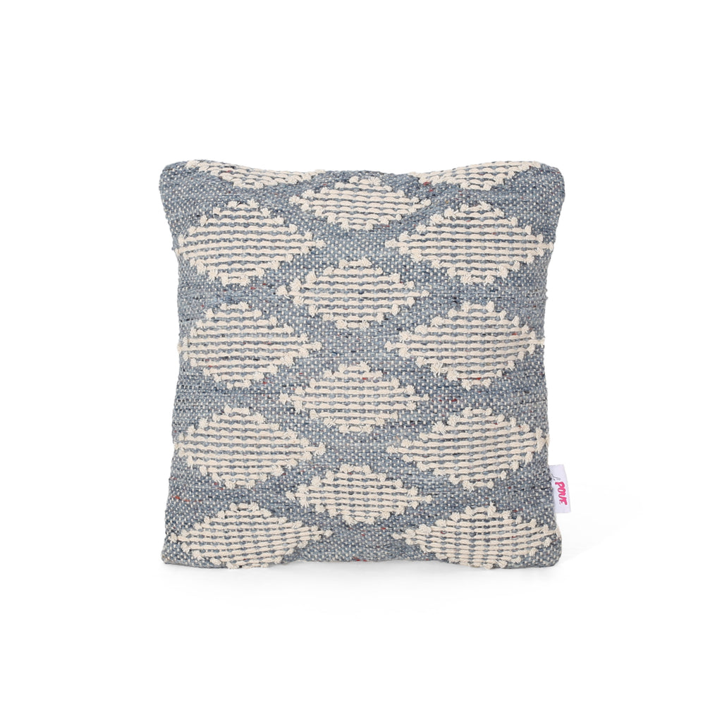 Catherine Boho Cotton and Wool Pillow Cover, Blue and Natural