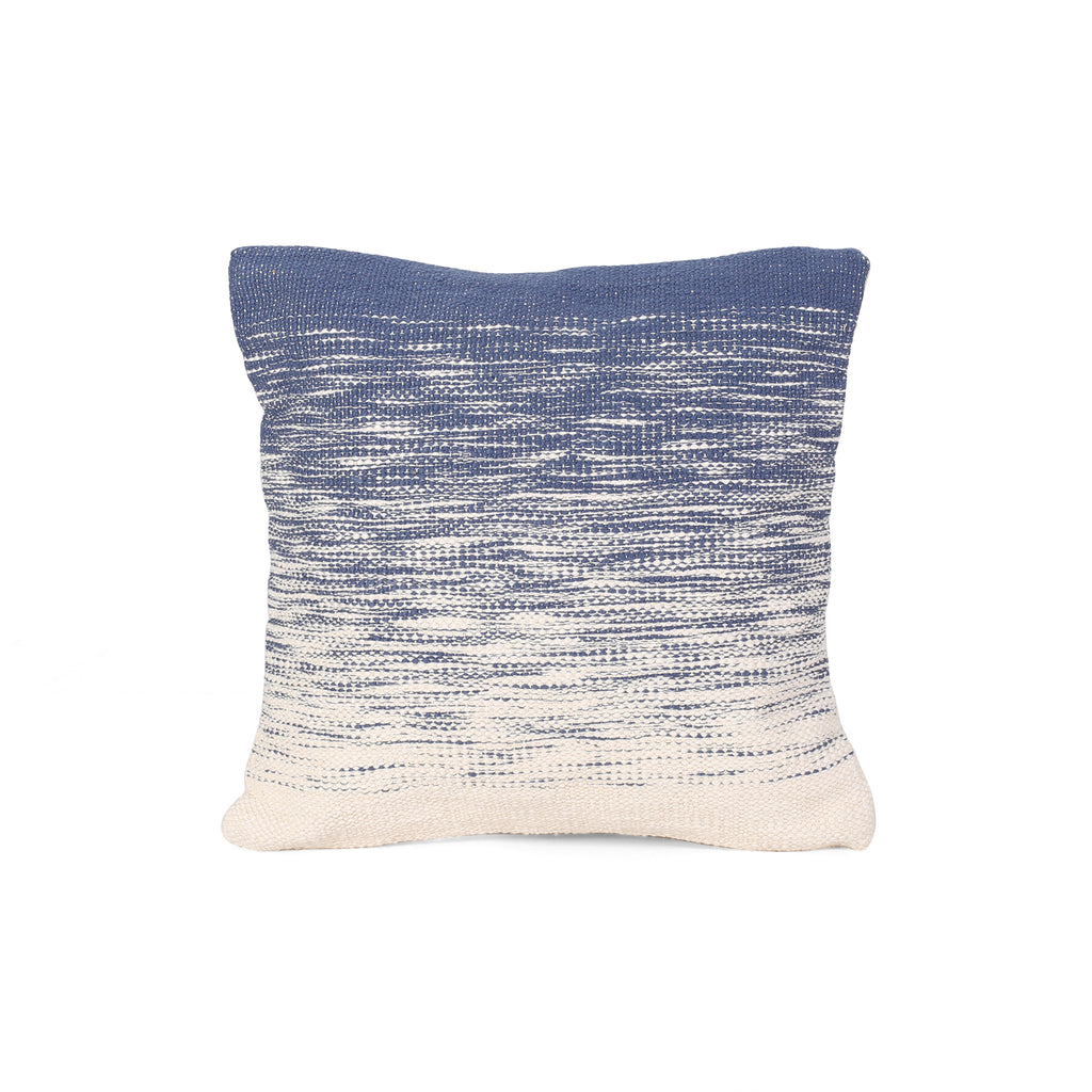 Nicole Boho Cotton Pillow Cover, Blue and Natural