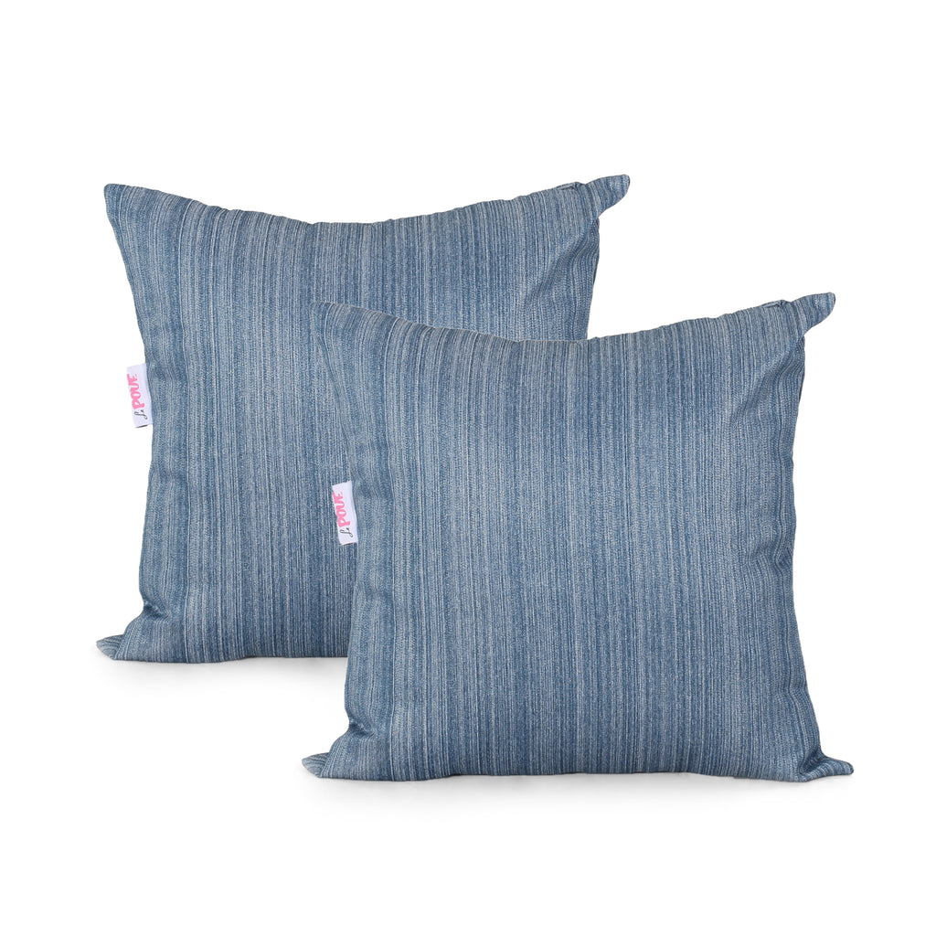 Maxine Modern Square Water Resistant Fabric Pillow (Set of 2), Stone Blue