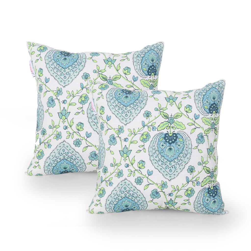 Iris Outdoor Modern Square Water Resistant Fabric Pillow (Set of 2), Multicolor Print