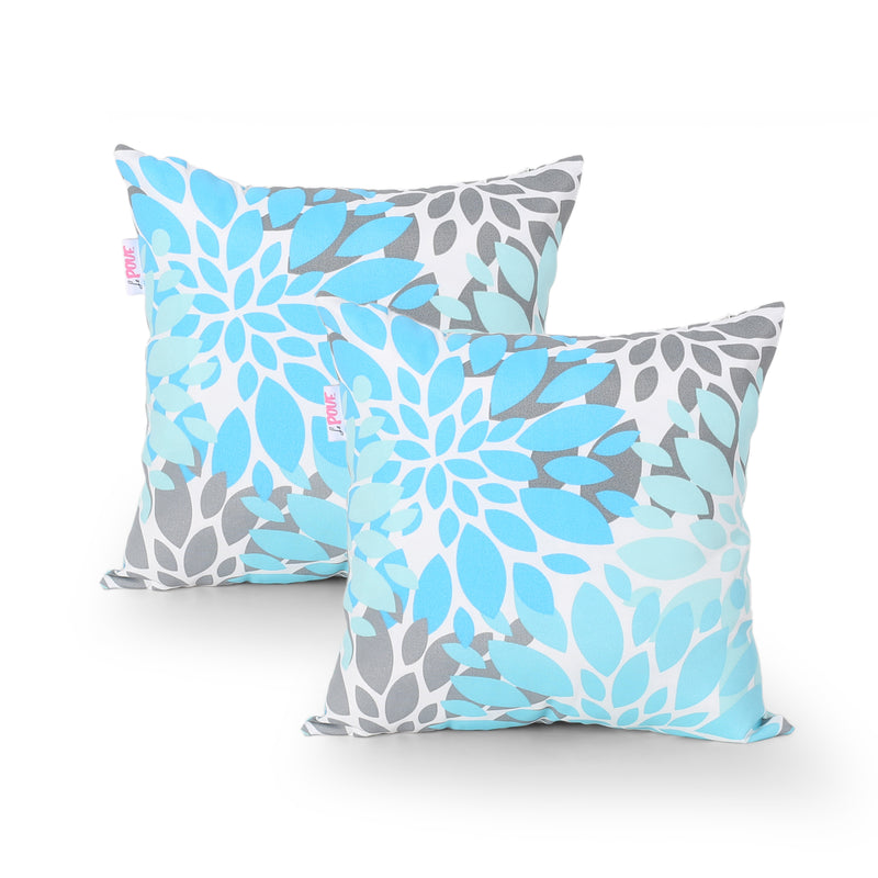 Cheryl Modern Throw Pillow (Set of 2), Teal, Gray, and White