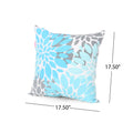 Angela Outdoor Modern Square Water Resistant Fabric Pillow (Set of 2), Teal, Gray, and White
