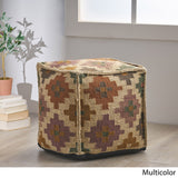 Taha Handcrafted Boho Jute and Wool Pouf