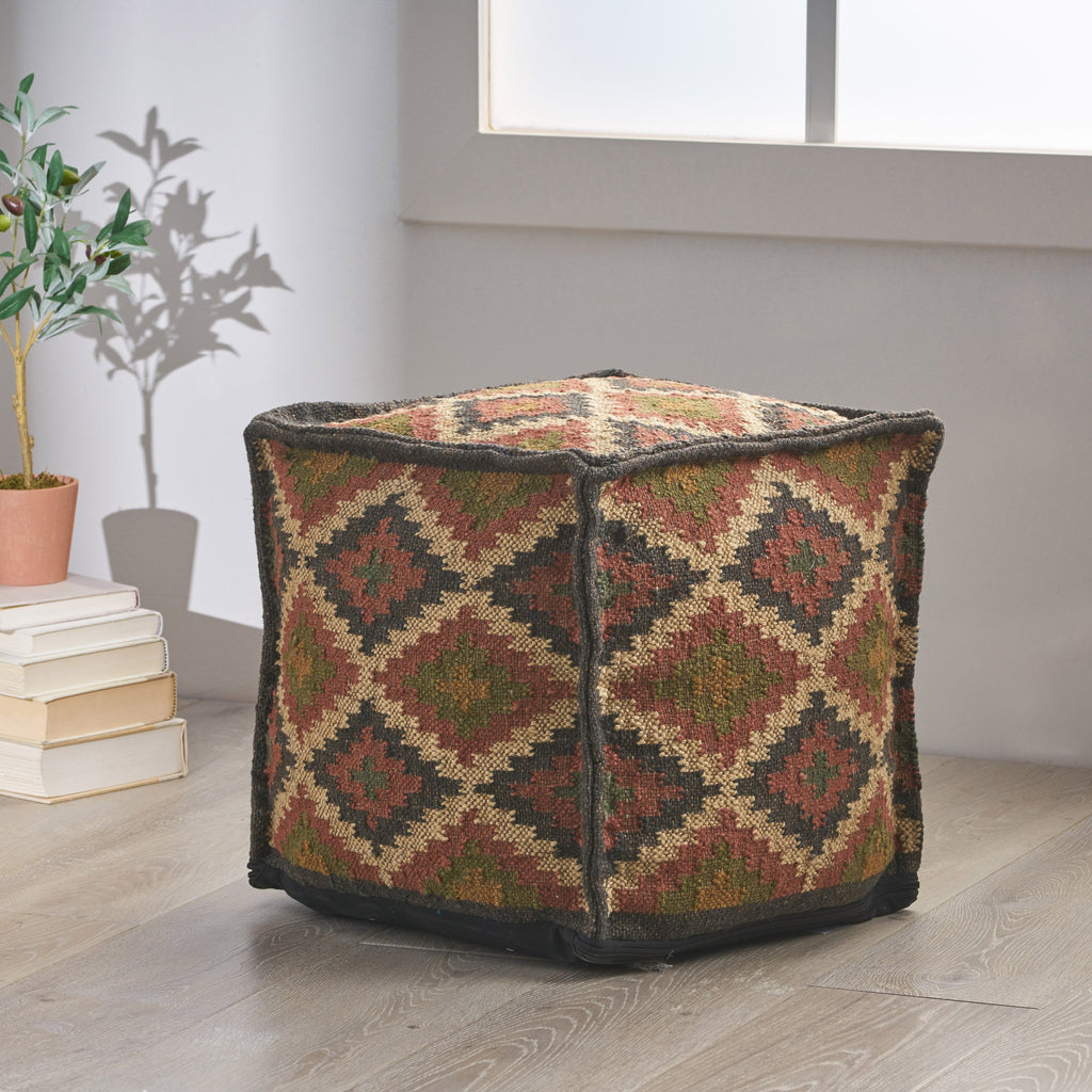 Bud Handcrafted Boho Jute and Wool Pouf