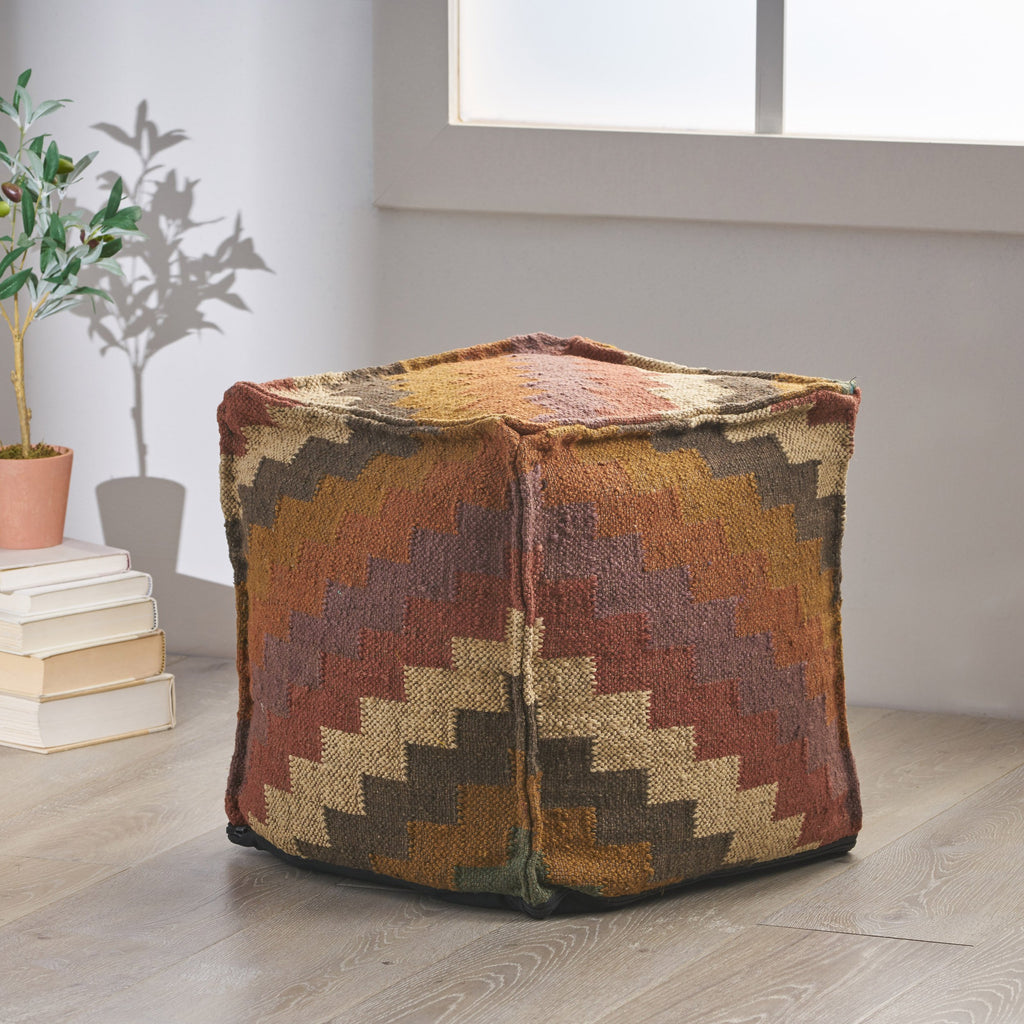 Chava Handcrafted Boho Jute and Wool Pouf