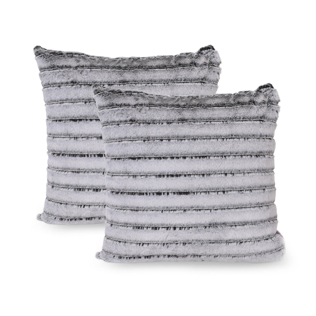 Ashley Modern Throw Pillow Cover Set Of 2 Black And Gray Le Pouf