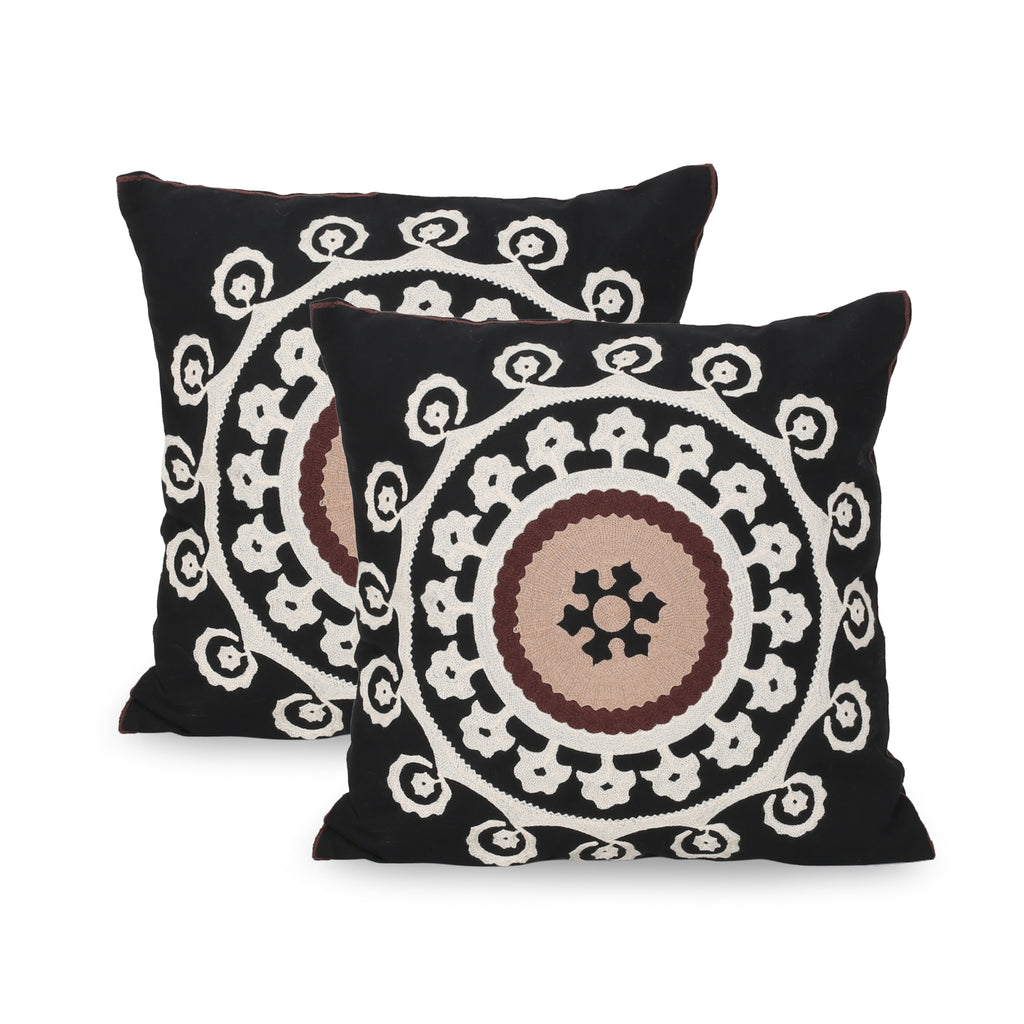 Bonnie Modern Throw Pillow Cover (Set of 2), Black, White, and Brown