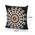Brenda Modern Throw Pillow (Set of 2), Black, White, and Brown