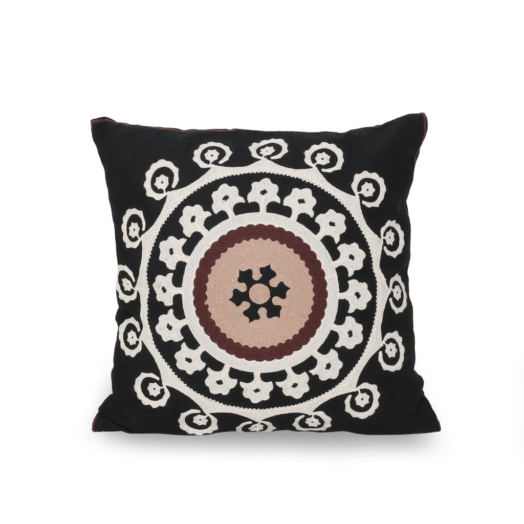 Bonnie Modern Throw Pillow Cover, Black, White, and Brown