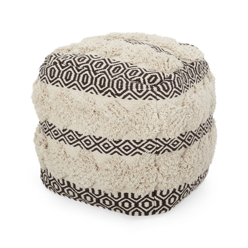 Klyn Hand Woven Fabric Cube Pouf